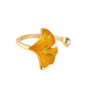 Enamel Glaze Yellow Ginkgo Leaf Crystal Gold Ring